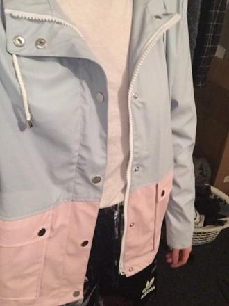 coat pink coat blue coat jacket pink and blue raincoat rain jacket tumblr