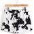 Black White Drawstring Waist Cows Print Shorts - Sheinside.com
