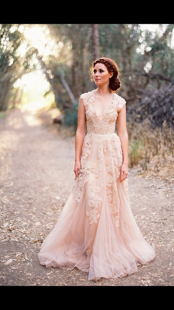 dress prom formal pink girly floral lace light pink prom dress white dress