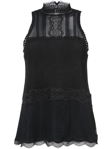 Jonathan Simkhai top women spandex lace black silk