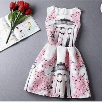 dress cherry blossom white dress pink dress white and pink dress flowers