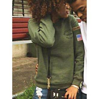 sweater us army american flag boy london army green couple sweaters teenagers black girls killin it usa