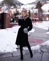 coat,black coat,long coat,knee high boots,turtleneck sweater,winter outfits,winter sweater,winter coat