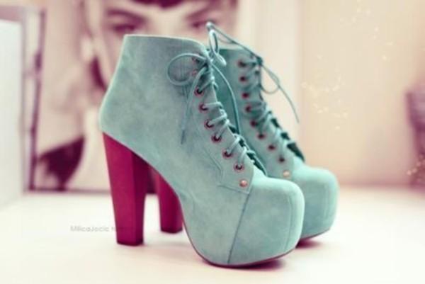 shoes bleu turquoise bottines à talon gros talons noir