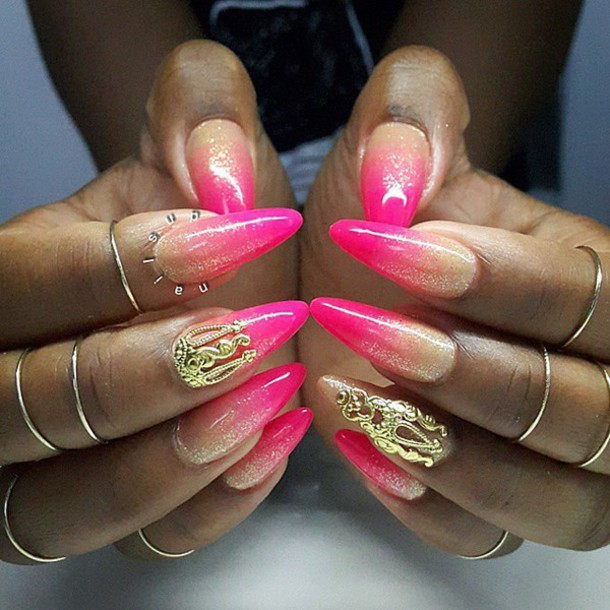 nail accessories, nail art, gold, nails, pink polish, ombre ...