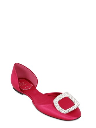 flats satin strawberry shoes