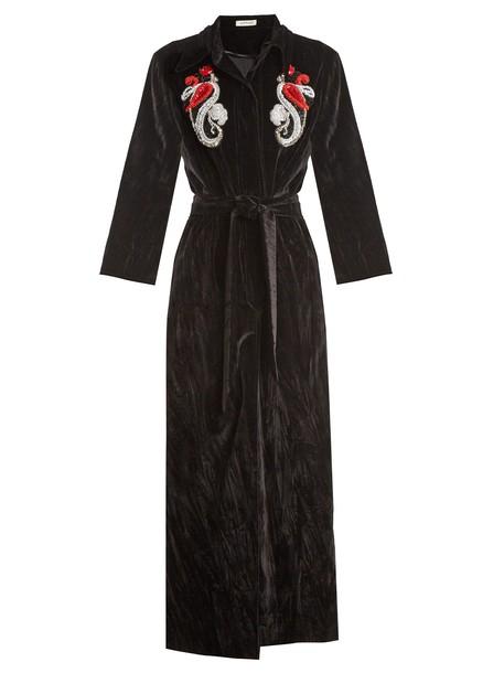 Attico coat embellished cotton velvet print black