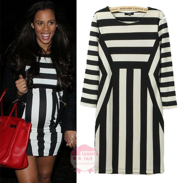 Womens Classic Celeb Style Bodycon Black White Striped 3/4 Sleeve Pencil Dress | eBay