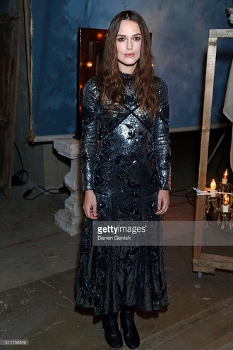dress sequins sequin dress boots vintage keira knightley actress celebrity style celebrity