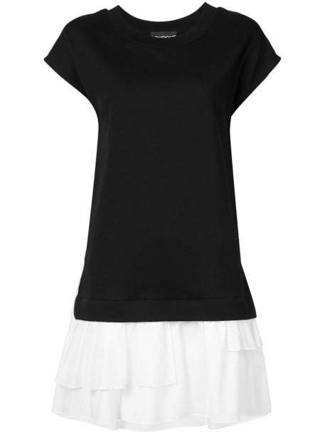 dress shirt dress t-shirt dress women layered cotton black