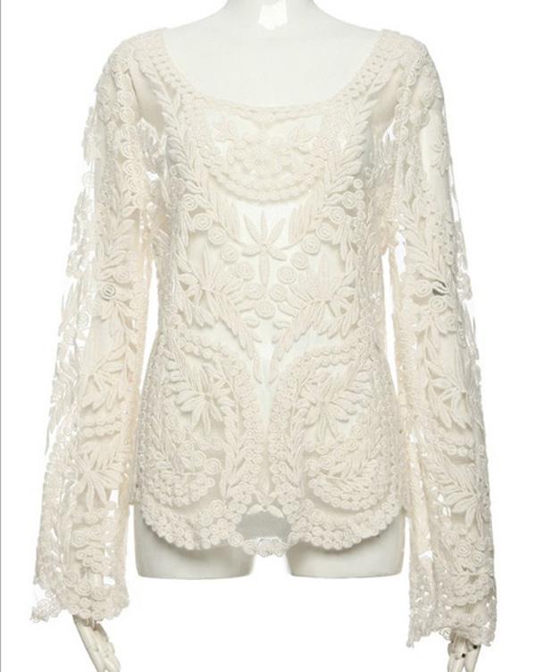 Kdq4 women lace retro floral knit top long sleeve crochet t shirt wf 3811