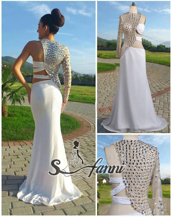 dress evening dress prom dress party party dress long sleeve dress mermaid prom dress crystal dress sheer back dress backless dress