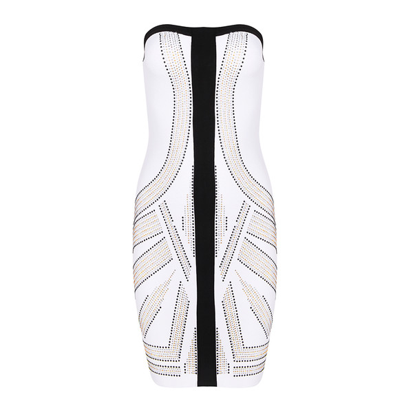 luxury beading strapless bandage dress evening dress dress