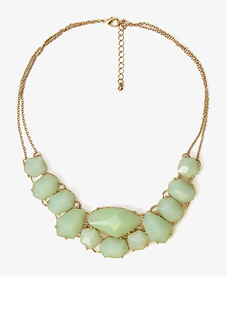Faceted Faux Stone Bib Necklace | FOREVER21 - 1022282971