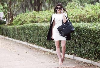 carly maddox blogger dress white dress handbag classy