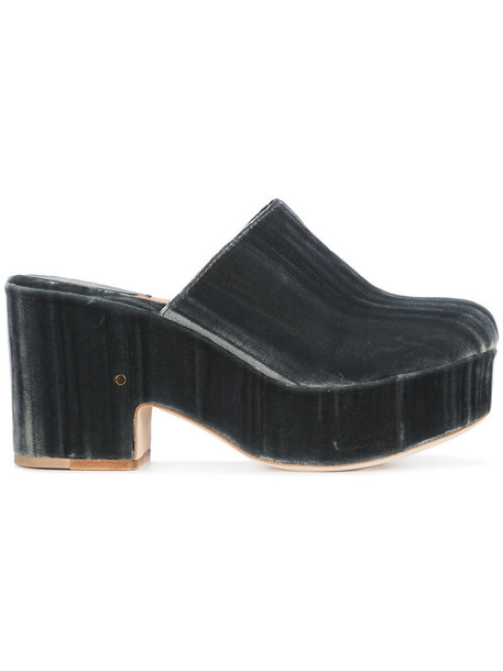 women mules leather velvet grey shoes