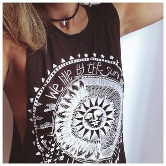 tank top hippie hippie shirt sun stars moon we live live muscle tank shirt