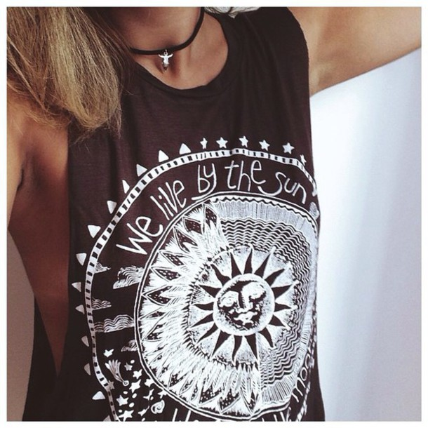 tank top hippie hippie shirt sun stars moon we live live muscle tee shirt