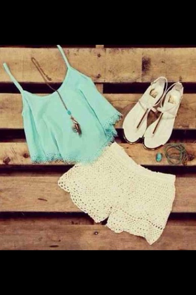 shorts top blue shirt white lace shorts