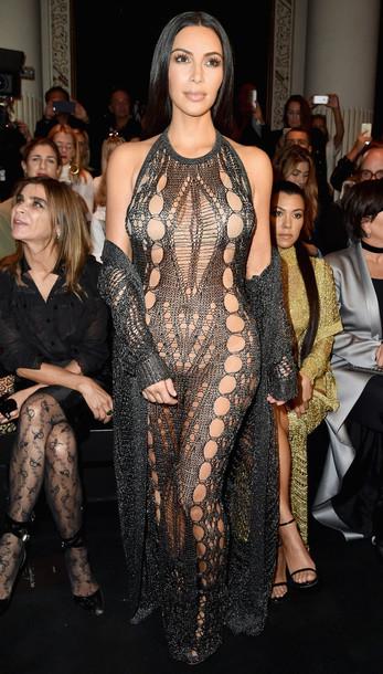 jumpsuit kim kardashian kardashians tight paris fashion week 2016 black cardigan shoes