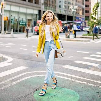 jacket tumblr blazer yellow yellow blazer denim jeans blue jeans sandals sandal heels high heel sandals t-shirt white t-shirt bag