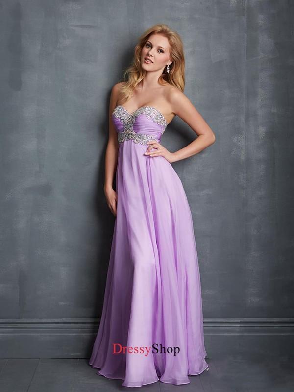Beautiful Lilac Sweetheart Ruched Bodice Beadings Chiffon Prom ...