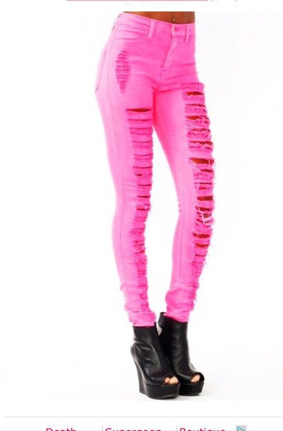 Jeans: hot neon pink ripped skinny jeans - Wheretoget