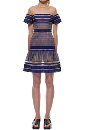 dress,self portrait striped mesh peplum dress