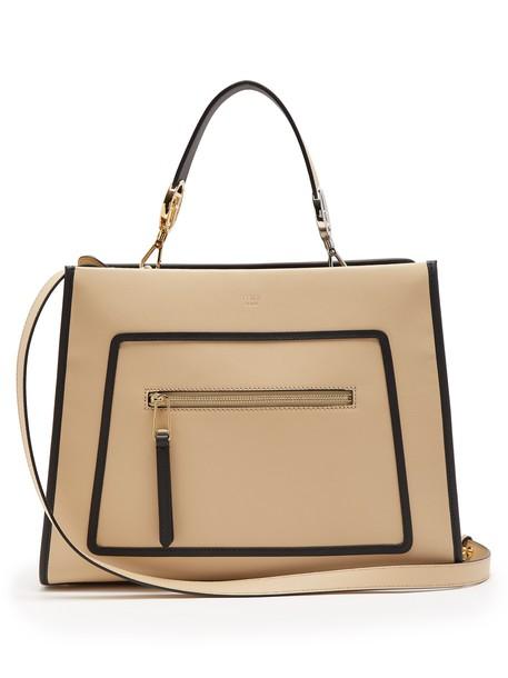 Fendi runway leather beige bag