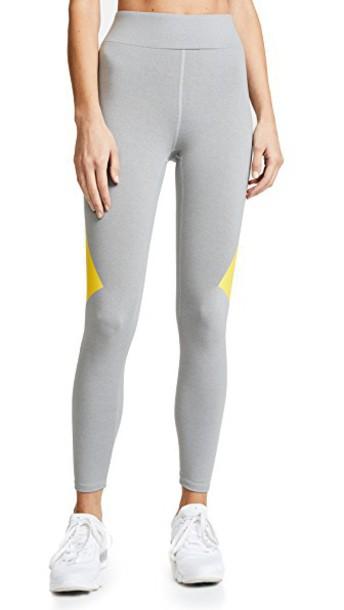Heroine Sport leggings yellow grey heather grey pants