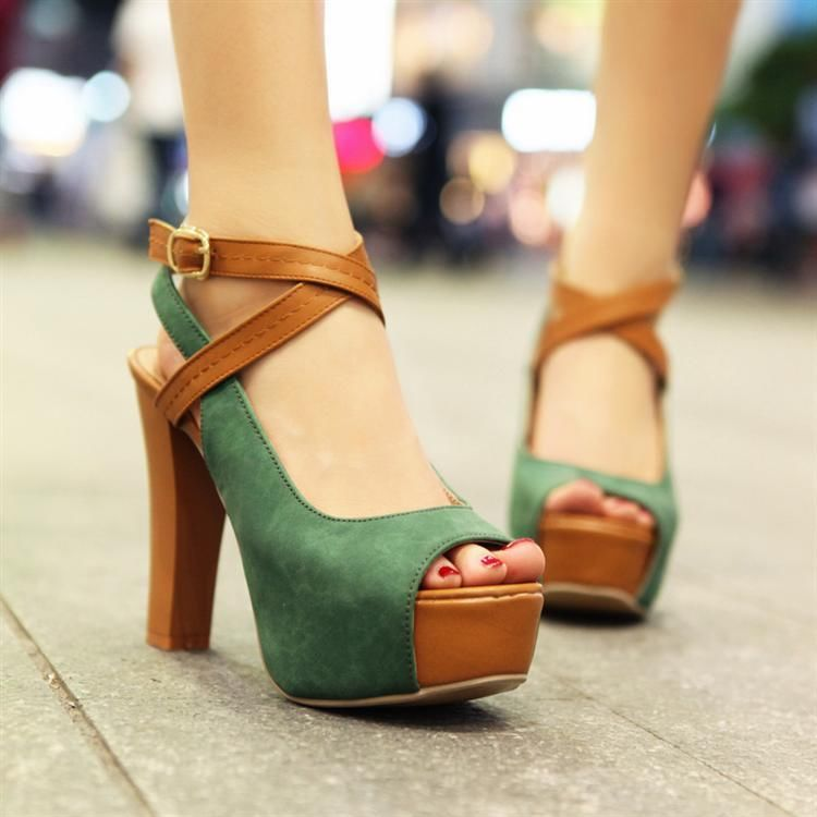 Women Peep Toe Ankle Buckle Cross Strap Platform High Heel Slingback Pump Shoes | eBay