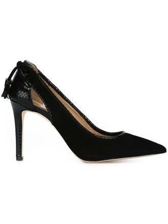 pointed toe pumps women pumps leather black shoes