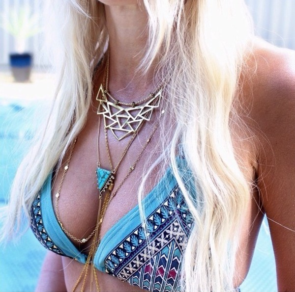 jewels blue necklace bohemian bohemian necklace festival bikini swimwear