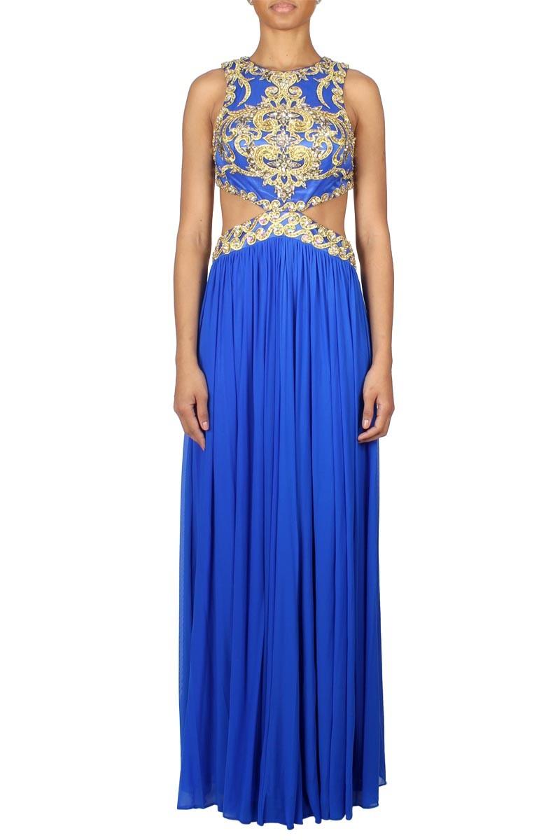 Forever Unique | Laila Blue Mesh Maxi Dress | Boudi UK | www.boudi.co.uk