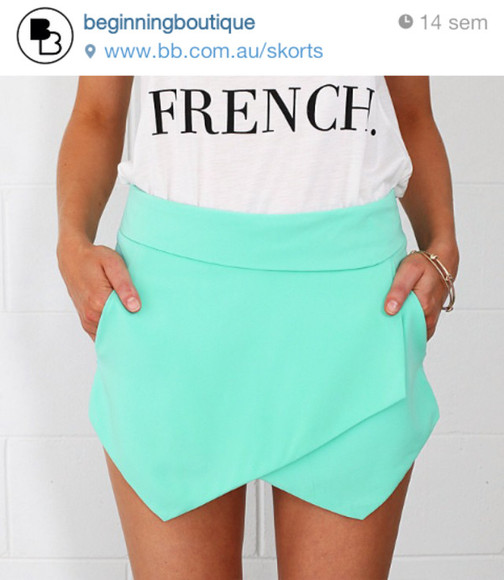 clothes cute t-shirt black skirt fashion tank top aqua blue turquoise tshirt white black and white stylish french