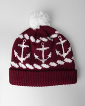 hat,burgundy,anchor,winter hat,beanie,red beanie,white,red,pom pom beanie,red and white,red and black