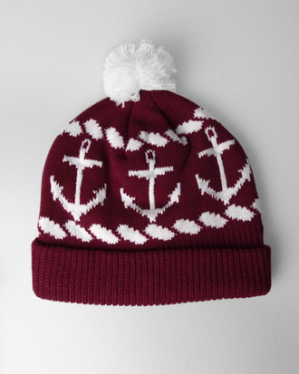 hat burgundy anchor winter hat white beanie red beanie red pom pom beanie red and white red and black white anchor holiday gift red anchor hat anchors maroon beanie cute anchor print