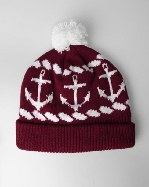 hat burgundy anchor winter hat beanie red beanie white red pom pom beanie  red and white 28eb3ef70b1