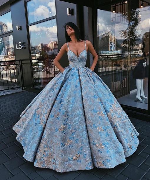 dress blue gold straps desperate gown pretty beautiful