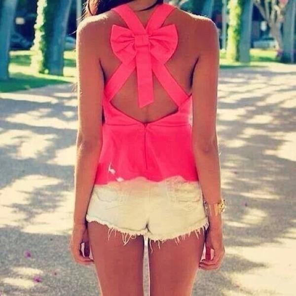 shirt tank top pink hot pink bows fashion shorts