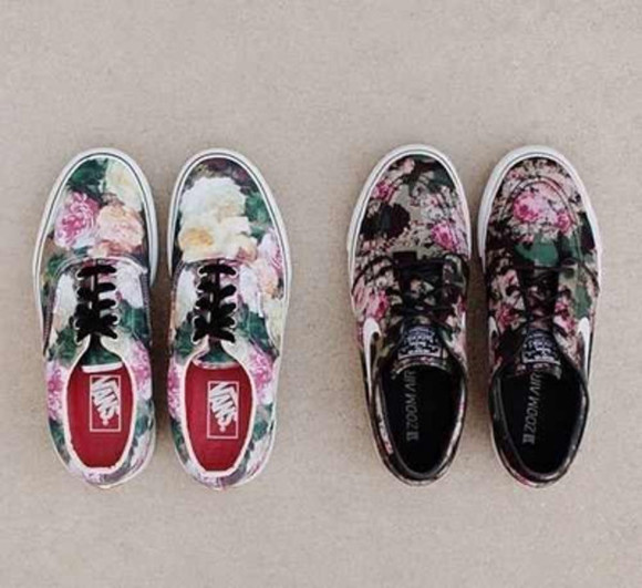 shoes nike sneakers black floral vans 2012