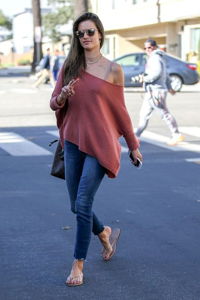 sweater one shoulder jeans alessandra ambrosio model off-duty streetstyle