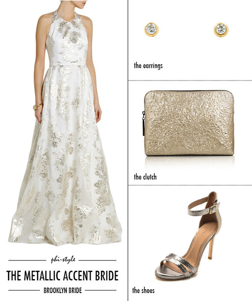 bklyn bride blogger wedding dress gold diamonds sandals silver shoes wedding accessories earrings wedding shoes
