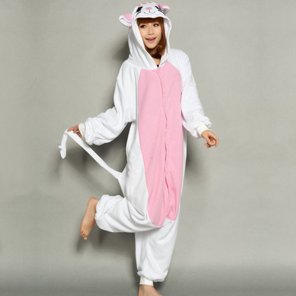 pajamas cats cat onsie cat pajamas kittycat white pink kitty onsie with ears  and tail cute ab5486f42cb37
