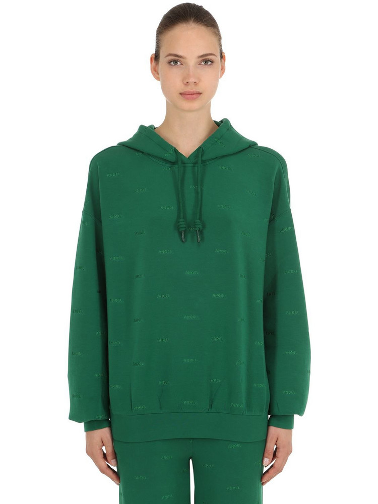 ANGEL CHEN Logo Embroidered Sweatshirt Hoodie in green