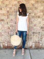 mrscasual,blogger,shoes,top,jeans,bag,sunglasses,round bag,straw bag,sandals,white top
