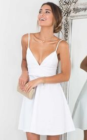 dress,white,white dress,graduation dress,graduation dresses,cute dress,simple dress,skater,formal,short,skater dress,prom,v neck,spaghetti strap,fit and flare dress