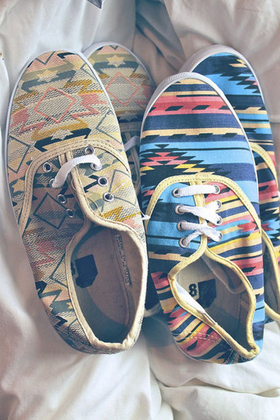 shoes aztec aztec shoes vans sneakers urban sneakers boho cute summer spring girls