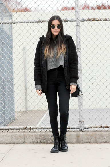 jeans bag sunglasses round sunglasses blogger coat grey sweater jacket soft grunge black dress like jess DrMartens ombre hair