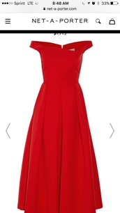 dress,preen by thornton bregazzi,finella pleated stretch crepe midi dress,red dress